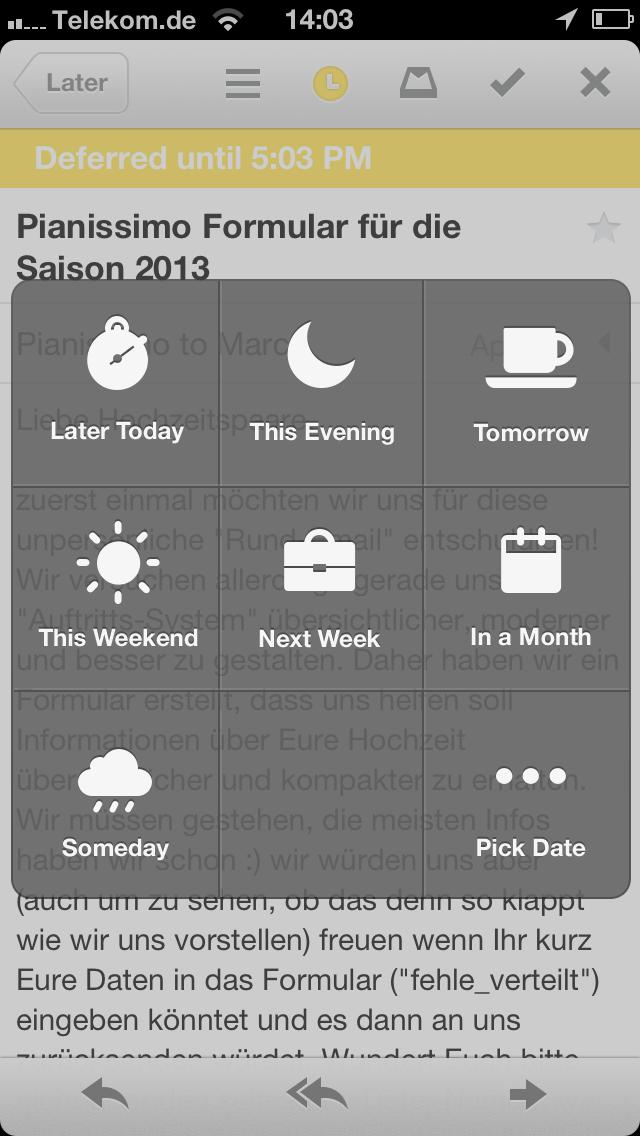 Mailbox-App Wiedervorlage