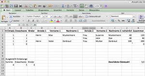 Anzahl der Hochzeitsgäst Excel